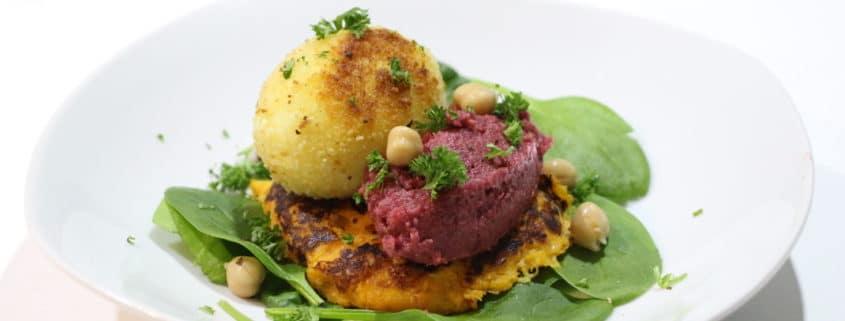 galettes de patate douce et houmous de betterave