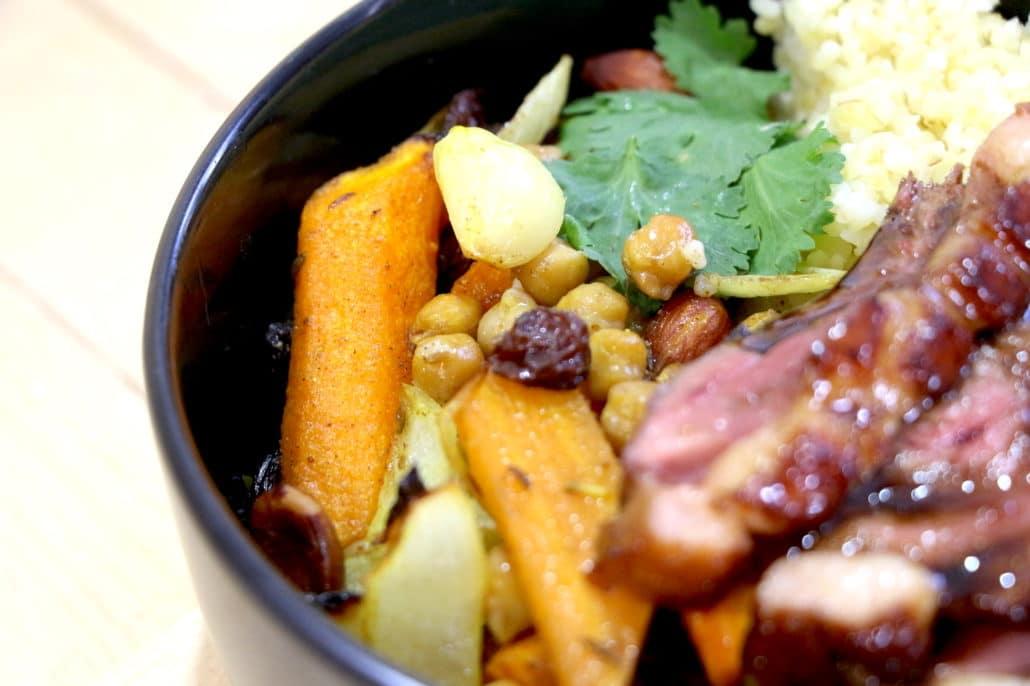 magret de canard et légumes sauce orange