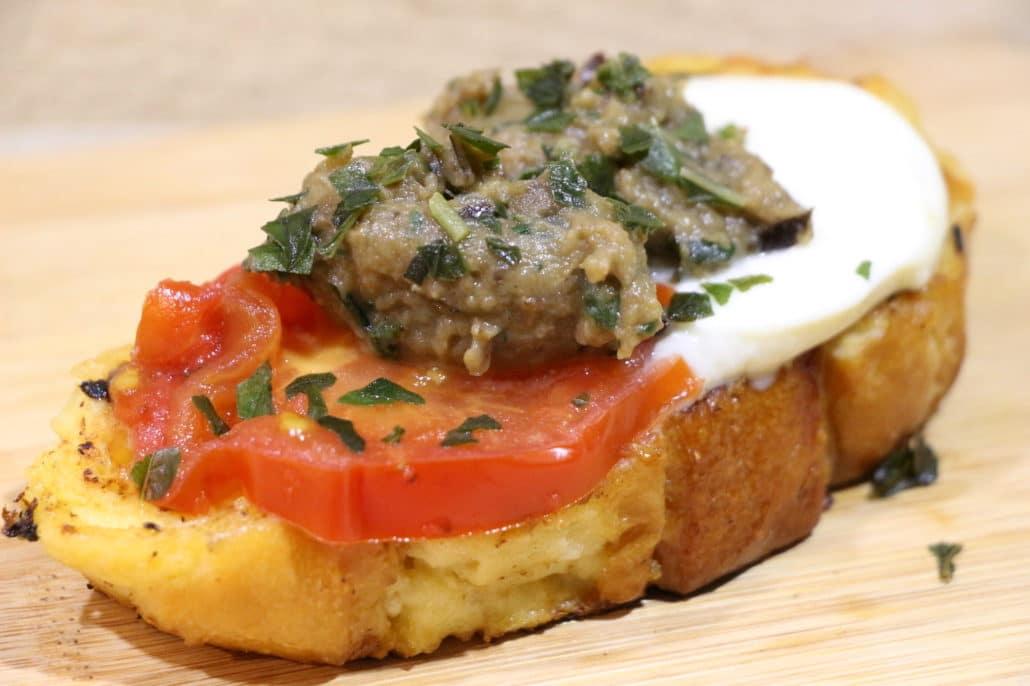 pain perdu salé aubergine et mozzarella
