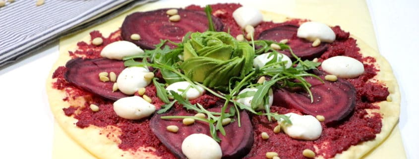 pizza rose à la betterave