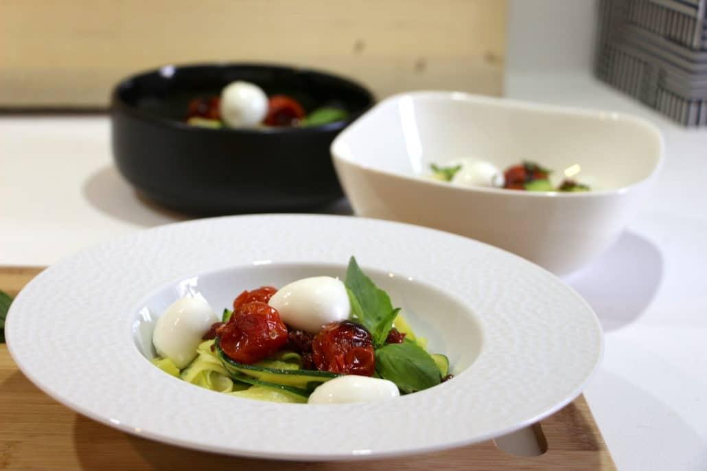 tagliatelles de courgettes aux tomates confites