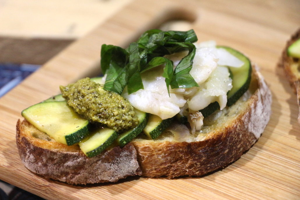 tartines aux légumes grillés poisson