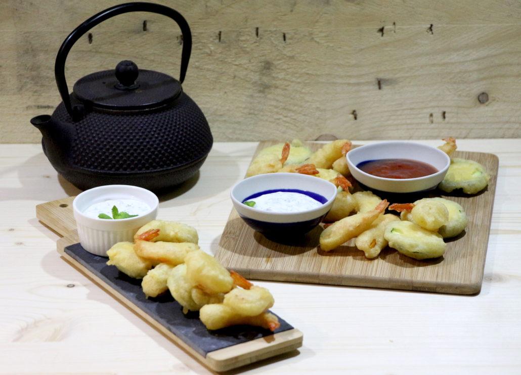 tempura de crevettes et légumes