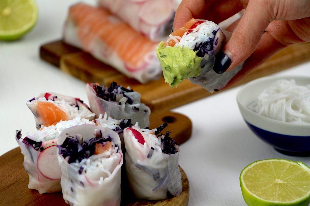 rouleaux de printemps au saumon et chou