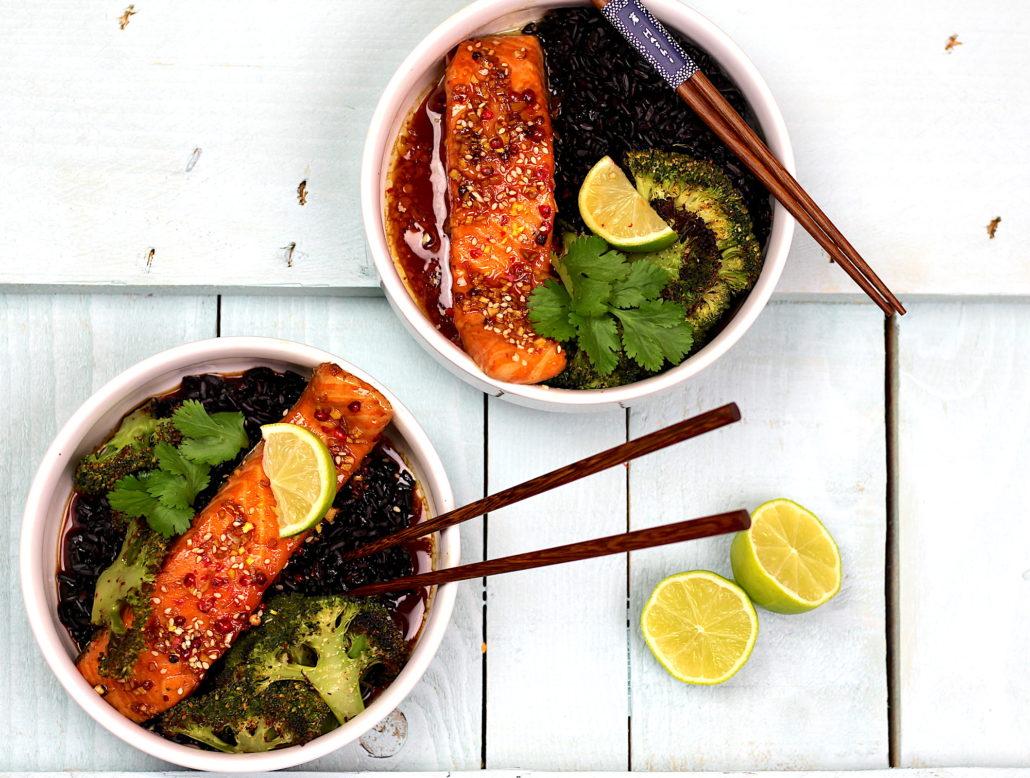 saumon laqué au soja et miel