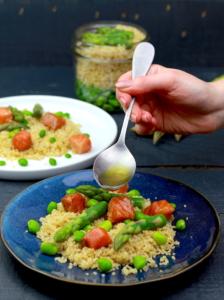 salade quinoa saumon et fèves sauce au citron